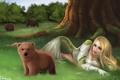 Картинка лес, девушка, деревья, эльф, медведи, арт, мишка