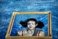 Картинка вода, девушка, портрет, рамка