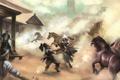 Картинка бандиты, лошади, assassins creed, дым, деревня
