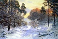 Картинка зима, лес, свет, снег, деревья, пейзаж, картина