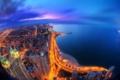 Картинка побережье, ночь, здания, море, огни