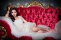 Картинка взгляд, лицо, волосы, кресло, платье, азиатка