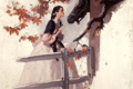 Картинка девушка, картина, платье, лошадь.