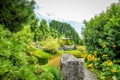 Картинка деревья, камни, сад, дорожка, Нидерланды, беседка, кусты