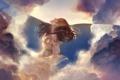 Картинка небо, вода, девушка, облака, пузыри, аниме, арт