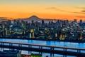 Картинка пейзаж, огни, гора, дома, Япония, Токио