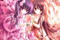 Картинка цветы, девочки, розы, букет, лепестки, платье, арт