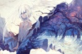 Картинка взгляд, девушка, снег, деревья, кровь, крылья, арт