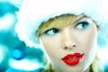Картинка взгляд, лицо, шапка, помада, блондинка, губы