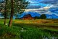 Картинка деревья, горы, ручей, хижина, Wyoming, Grand Teton National Park, Thomas Moulton Barn