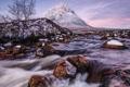 Картинка зима, снег, река, дерево, гора, поток