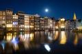 Картинка огни, отражение, луна, дома, зеркало, Амстердам, канал