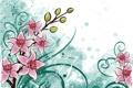 Картинка листья, цветы, фон, вектор, лепестки