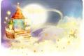 Картинка облака, узоры, детские обои, заячик, луна, замок, звёзды