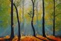 Картинка лес, деревья, природа, арт, солнечные лучи, artsaus
