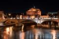 Картинка ночь, мост, огни, река, Рим, Италия, Тибр