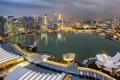 Картинка дизайн, огни, остров, здания, дома, вечер, Сингапур