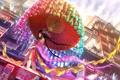 Картинка девушка, город, зонт, арт, карусель, фигурки, fuji choko