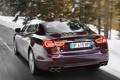 Картинка дорога, деревья, огни, Maserati, Quattroporte, стоп, задок