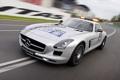 Картинка авто, огни, Mercedes-Benz, скорость, AMG, SLS, передок