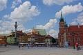 Картинка небо, люди, площадь, Польша, Варшава, колонна, королевский замок