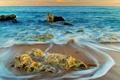 Картинка песок, море, волны, камни, фото