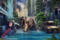 Картинка город, фантастика, динозавр, цунами, разрушение, By Namo, The Last Survived