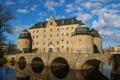 Картинка Эребру, облака, Швеция, небо, замок, мост, пейзаж