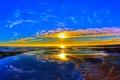 Картинка море, небо, солнце, облака, закат, горизонт