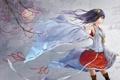 Картинка девушка, цветы, фон, ветер, ветка, сакура, арт