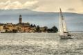 Картинка горы, здания, яхта, Италия, набережная, Italy, Ломбардия