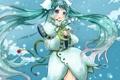 Картинка девушка, цветы, снежинки, аниме, арт, микрофон, vocaloid