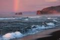 Картинка побережье, скалы, прибой, волны, тучи, радуга, море
