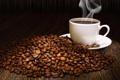 Картинка чашка кофе, блюдце, зерна