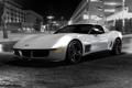 Картинка auto, чёрно белое фото ночной город, сhevrolet corvet
