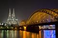 Картинка ночь, мост, огни, река, собор, германия, germany