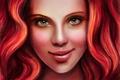 Картинка девушка, арт, губы, живопись, кудри, зеленые глаза, красные волосы