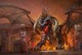 Картинка город, люди, дракон, крылья, арт, WoW, World of Warcraft