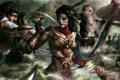 Картинка вода, девушка, оружие, арт, битва, парень, сражение