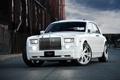 Картинка белый, небо, облака, Phantom, white, Rolls Royce, передок