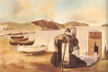Картинка горы, дерево, сюрреализм, женщина, лодка, масло, картина