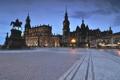 Картинка небо, дома, вечер, Германия, Дрезден, площадь, памятник