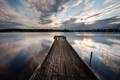 Картинка мост, озеро, ночь