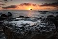 Картинка море, закат, камень