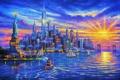 Картинка солнце, корабли, Нью-Йорк, небоскребы, залив, USA, США