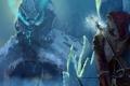 Картинка холод, лед, дракон, лук, арт, мужчина, лучник