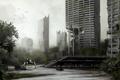 Картинка деревья, город, болото, робот, постапокалипсис, war, пустош