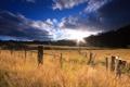 Картинка поле, небо, солнце, облака, горы, природа, восход