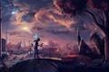 Картинка девушка, мост, дерево, ракета, арт, фонарь