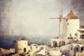 Картинка море, небо, дома, горизонт, мельница, живопись, фильтр